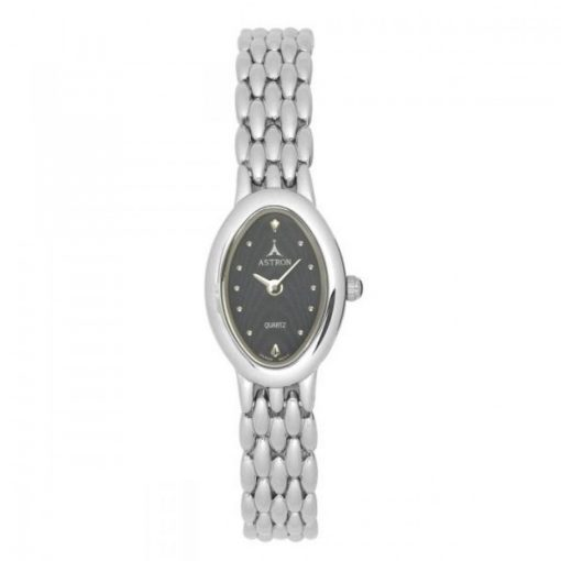 ASTRON 5017-2 női karóra, szürke színű fém tok, ezüst színű fémcsat, fekete számlap, keményített ásványüveg, quartz szerkezet, cseppmentes vízállóság