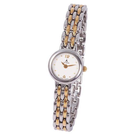 ASTRON 5055-7 női karóra, bicolor színű fém tok, bicolor fémcsat, fehér számlap, keményített ásványüveg, quartz szerkezet, cseppmentes vízállóság