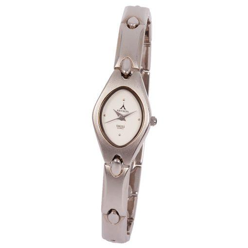 ASTRON 5078-8 női karóra, ezüst színű fém tok, ezüst színű fémcsat, fehér számlap, keményített ásványüveg, quartz szerkezet, cseppmentes vízállóság