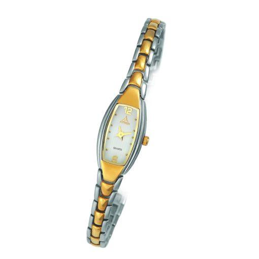 ASTRON 5091-7 női karóra, bicolor színű nemesacél tok, bicolor fémcsat, fehér számlap, keményített ásványüveg, quartz szerkezet, cseppmentes vízállóság