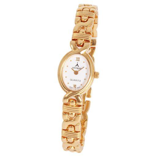 ASTRON 5108-0 női karóra, arany színű fém tok, arany színű fémcsat, fehér számlap, keményített ásványüveg, quartz szerkezet, cseppmentes vízállóság