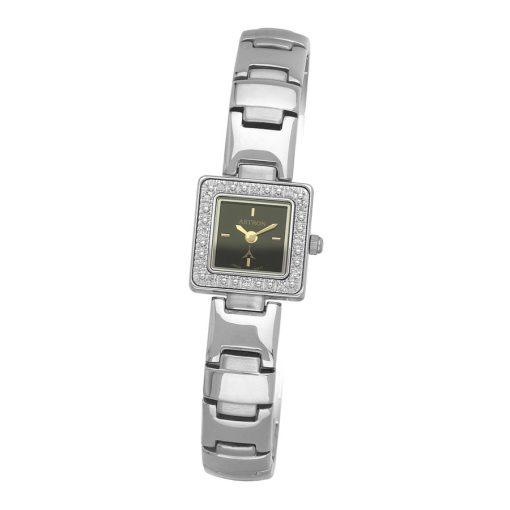 ASTRON 5113-1 női karóra, ezüst színű fém tok, ezüst színű fémcsat, fekete számlap, keményített ásványüveg, quartz szerkezet, cseppmentes vízállóság