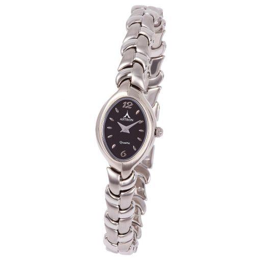 ASTRON 5121-1 női karóra, ezüst színű fém tok, ezüst színű fémcsat, fekete számlap, keményített ásványüveg, quartz szerkezet, cseppmentes vízállóság