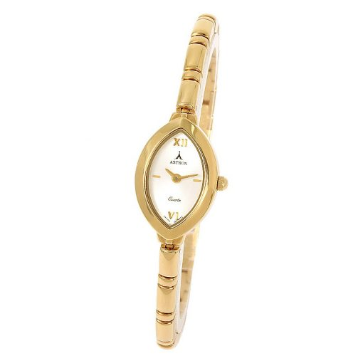 ASTRON 5140-7 női karóra, arany színű fém tok, arany színű fémcsat, ezüst színű számlap, keményített ásványüveg, quartz szerkezet, cseppmentes vízállóság
