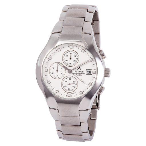 ASTRON 5146-8 analóg férfi karóra, ezüst színű nemesacél tok, ezüst színű nemesacél szíj/csat, fehér számlap, keményített ásványüveg, chronograph|quartz szerkezet, 50 m (5 ATM) vízállóság