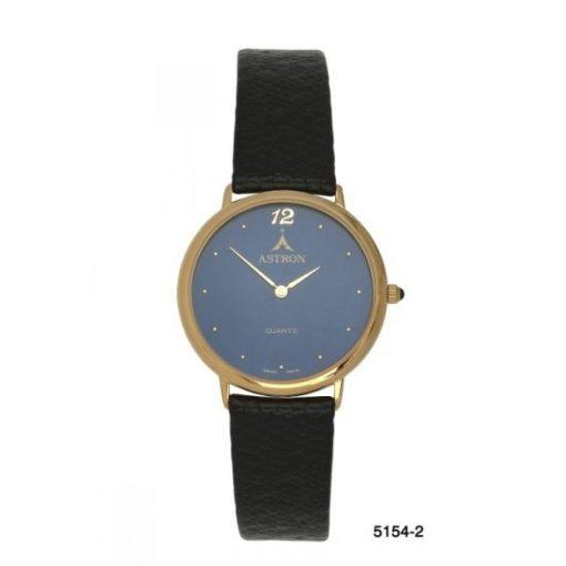 ASTRON 5154-2 analóg unisex karóra, arany színű fém tok, fekete bőrszíj szíj/csat, kék számlap, keményített ásványüveg, quartz szerkezet, cseppmentes vízállóság