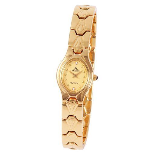 ASTRON 5167-9 női karóra, arany színű fém tok, arany színű fémcsat, arany színű számlap, keményített ásványüveg, quartz szerkezet, cseppmentes vízállóság