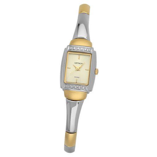 ASTRON 5185-5 női karóra, bicolor színű nemesacél tok, bicolor fémcsat, arany színű számlap, keményített ásványüveg, quartz szerkezet, cseppmentes vízállóság