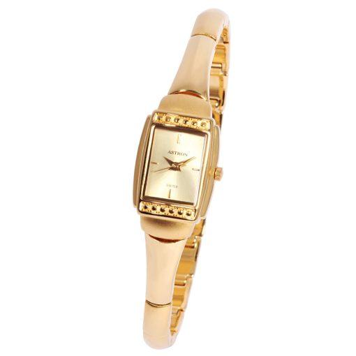 ASTRON 5185-9 női karóra, arany színű nemesacél tok, arany színű fémcsat, arany színű számlap, keményített ásványüveg, quartz szerkezet, cseppmentes vízállóság