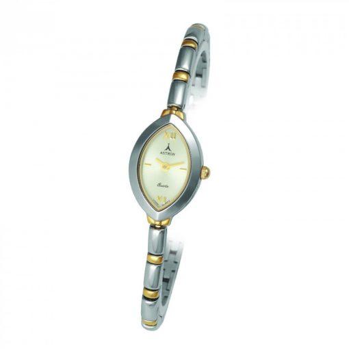 ASTRON 5192-9 női karóra, bicolor színű fém tok, bicolor fémcsat, pezsgőszínű számlap, keményített ásványüveg, quartz szerkezet, cseppmentes vízállóság