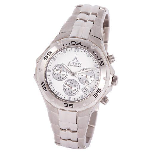 ASTRON 5197-7 férfi karóra, ezüst színű nemesacél tok, ezüst színű nemesacél csat, fehér számlap, keményített ásványüveg, chronograph quartz szerkezet, 50 m (5 ATM) vízállóság