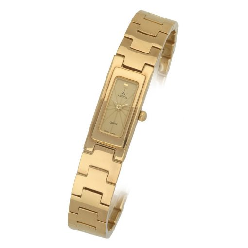 ASTRON 5256-9 analóg női karóra, arany színű fém tok, arany színű fém szíj/csat, arany színű számlap, keményített ásványüveg, quartz szerkezet, cseppmentes vízállóság