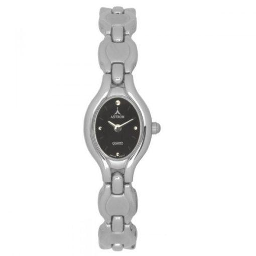 ASTRON 5257-1 női karóra, ezüst színű fém tok, ezüst színű fémcsat, fekete számlap, keményített ásványüveg, quartz szerkezet, cseppmentes vízállóság