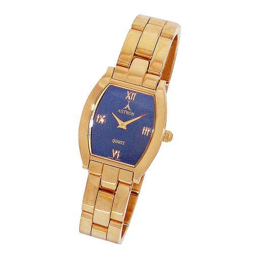 ASTRON 5259-2 női karóra, arany színű fém tok, arany színű fémcsat, kék számlap, keményített ásványüveg, quartz szerkezet, cseppmentes vízállóság