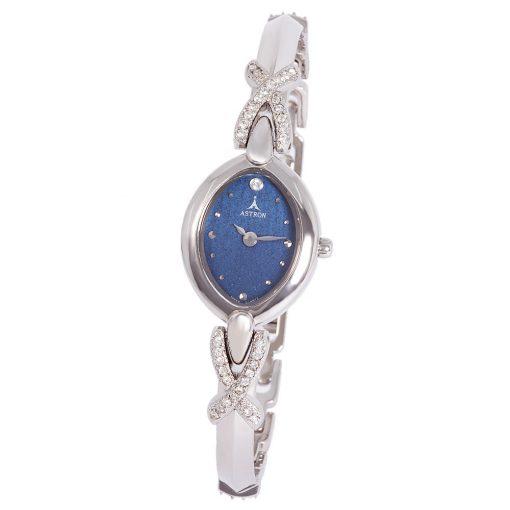 ASTRON 5427-2 női karóra, ezüst színű fém tok, ezüst színű fémcsat, kék számlap, keményített ásványüveg, quartz szerkezet, cseppmentes vízállóság