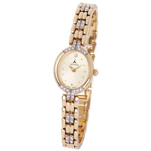 ASTRON 5448-9 női karóra, arany színű fém tok, arany színű fémcsat, zirkónia díszítés, arany színű számlap, keményített ásványüveg, quartz szerkezet, cseppmentes vízállóság