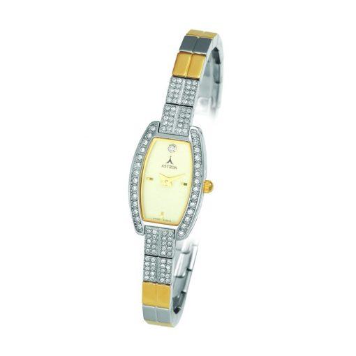 ASTRON 5481-5 női karóra, bicolor színű fém tok, arany színű fémcsat, pezsgőszínű számlap, keményített ásványüveg, quartz szerkezet, cseppmentes vízállóság