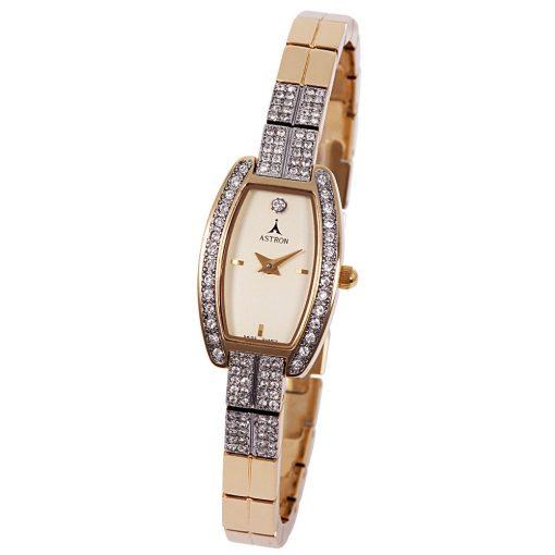 ASTRON 5481-9 női karóra, arany színű fém tok, arany színű fémcsat, zirkónia díszítés, arany színű számlap, keményített ásványüveg, quartz szerkezet, cseppmentes vízállóság