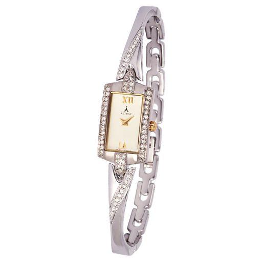 ASTRON 5482-5 női karóra, ékszeróra, bicolor fém tok, ezüst színű fémcsat, pezsgőszínű számlap, keményített ásványüveg, quartz szerkezet, cseppmentes vízállóság