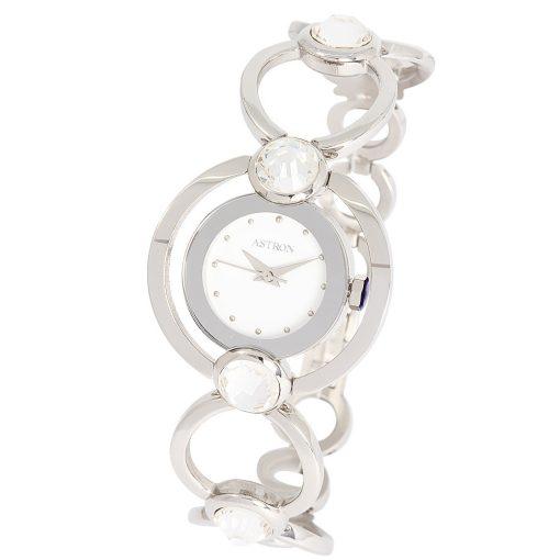 ASTRON 5543-7 analóg női karóra, ezüst színű nemesacél tok, ezüst színű nemesacél szíj/csat, fehér számlap, keményített ásványüveg, quartz szerkezet, cseppmentes vízállóság