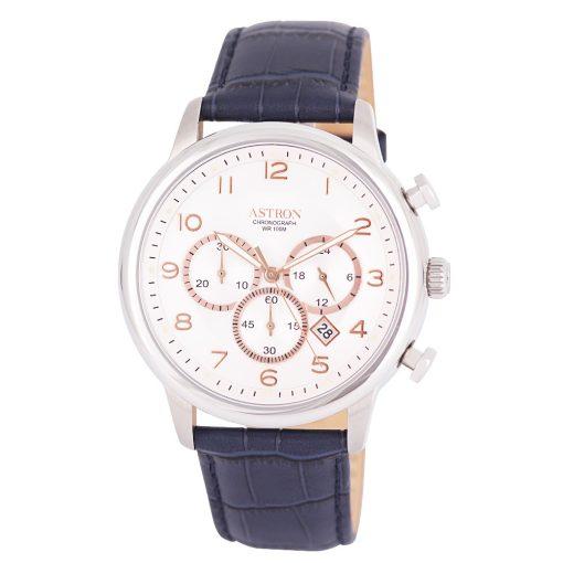 ASTRON 5550-2 elegáns férfi karóra, ezüst színű nemesacél tok, kék bőrszíj, ezüst színű számlap, keményített ásványüveg, chronograph quartz szerkezet, 100 m (10 ATM) vízállóság