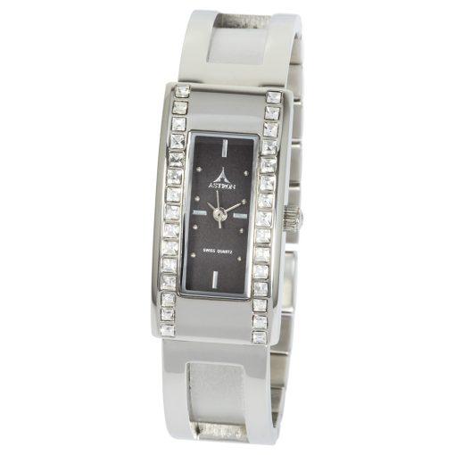 ASTRON 5576-1 analóg női karóra, ezüst színű nemesacél tok, ezüst színű nemesacél szíj/csat, fekete számlap, keményített ásványüveg, quartz szerkezet, cseppmentes vízállóság