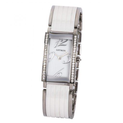 ASTRON 5588-7 női karóra, ezüst színű nemesacél tok, ezüst színű nemesacél csat, kerámia díszítéssel, fehér számlap, keményített ásványüveg, quartz szerkezet, cseppmentes vízállóság