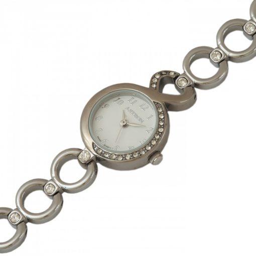 ASTRON 5606-7 női karóra, ezüst színű fém tok, ezüst színű fémcsat, fehér számlap, keményített ásványüveg, quartz szerkezet, cseppmentes vízállóság
