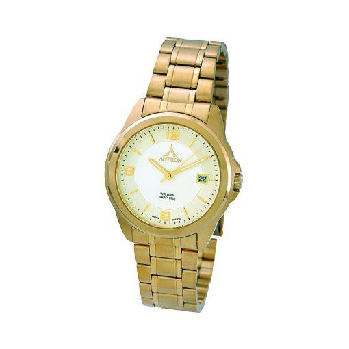 ASTRON 5615-9 férfi karóra, arany színű nemesacél tok, arany színű nemesacél csat, pezsgőszínű számlap, zafír, quartz szerkezet, 100 m (10 ATM) vízállóság