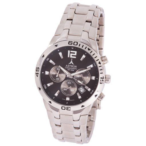 ASTRON 5721-1 férfi karóra, ezüst színű nemesacél tok, ezüst színű nemesacél csat, fekete számlap, keményített ásványüveg, chronograph quartz szerkezet, 100 m (10 ATM) vízállóság