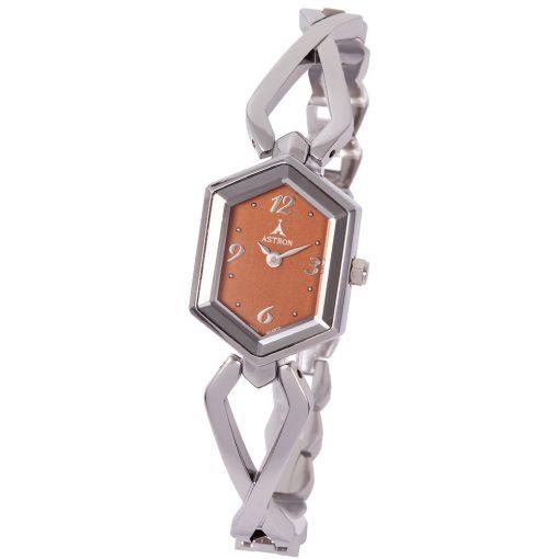 ASTRON 5725-4 női karóra, ezüst színű fém tok, ezüst színű fémcsat, barna számlap, keményített ásványüveg, quartz szerkezet, cseppmentes vízállóság