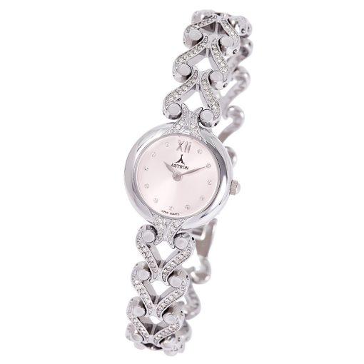 ASTRON 5771-6 női karóra, ezüst színű rézötvözet tok, ezüst színű rézötvözet csat, rózsaszín számlap, keményített ásványüveg, quartz szerkezet, cseppmentes vízállóság