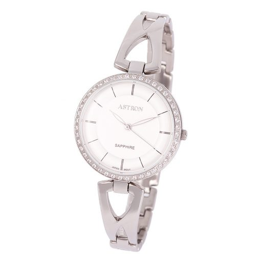 ASTRON 8006-8 divatos női karóra, ezüst színű nemesacél tok, ezüst színű nemesacél csat, ezüst színű számlap, zafírüveg, quartz szerkezet, cseppmentes vízállóság