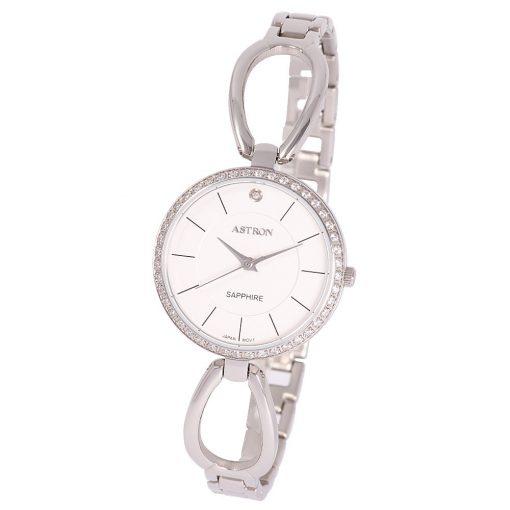 ASTRON 8007-8 divatos női karóra, ezüst színű nemesacél tok, ezüst színű nemesacél csat, fehér számlap, zafírüveg, quartz szerkezet, cseppmentes vízállóság
