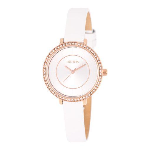 ASTRON 8008-8 divatos női karóra, rózsaarany színű nemesacél tok, fehér bőrszíj, ezüst színű számlap, keményített ásványüveg, quartz szerkezet, cseppmentes vízállóság
