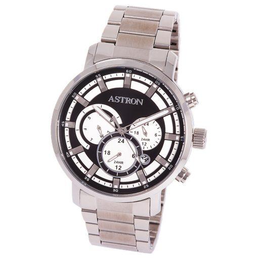 ASTRON 8011-1 sportos férfi karóra, ezüst színű nemesacél tok, ezüst színű nemesacél csat, fekete számlap, keményített ásványüveg, multifunkciós quartz szerkezet, 50 m (5 ATM) vízállóság
