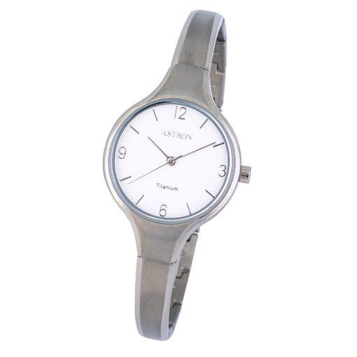 ASTRON 8023-7 női karóra, ékszeróra, ezüst színű titánium tok, ezüst színű titánium csat, fehér számlap, keményített ásványüveg, quartz szerkezet, cseppmentes vízállóság