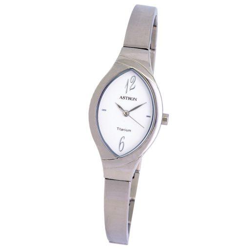 ASTRON 8024-7 női karóra, ékszeróra, ezüst színű titánium tok, ezüst színű titánium csat, fehér számlap, keményített ásványüveg, quartz szerkezet, cseppmentes vízállóság