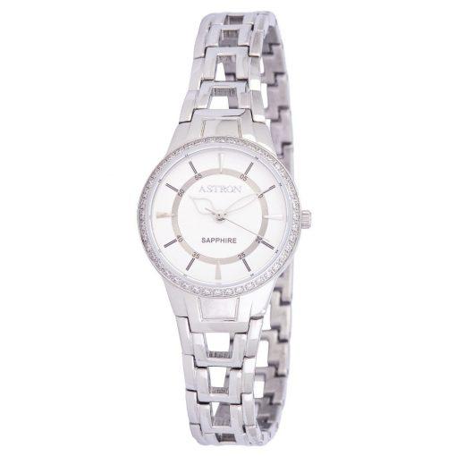 ASTRON 8027-8 női karóra, ékszeróra, ezüst színű nemesacél tok, ezüst színű nemesacél csat, fehér számlap, keményített ásványüveg, quartz szerkezet, cseppmentes vízállóság