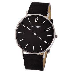 Ceas bărbătesc ASTRON, mecanism quartz, carcasă argintie, curea neagră, cadran negru